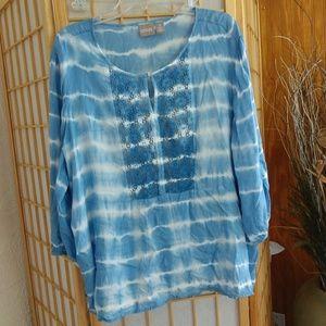 Women's Tye Dye Peasant Top